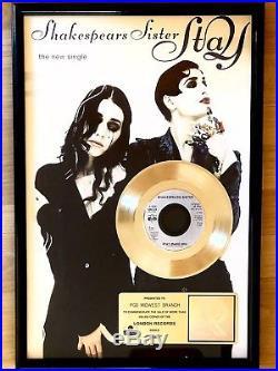 Original RIAA Gold Record Award Shakespears Sister Stay (BANANARAMA Members)