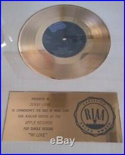 PAUL McCARTNEY & WINGS MY LOVE RIAA GOLD RECORD AWARD TO DENNY LAINE