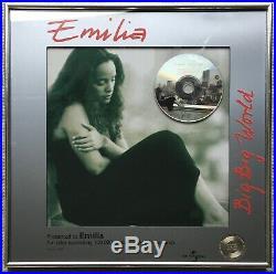PRESENTED TO EMILIA Big Big World gold record award Holland NVPI no RIAA BPI