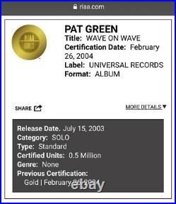 Pat Green Wave On Wave RIAA Gold Record Award Country Music