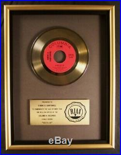 Paul Simon & Art Garfunkel Cecilia 45 Gold RIAA Record Award Columbia Records