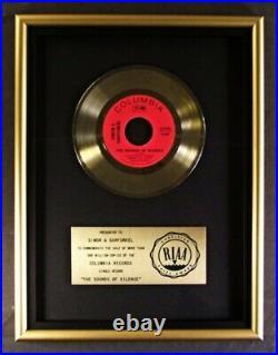 Paul Simon & Art Garfunkel The Sounds Of Silence 45 Gold RIAA Record Award