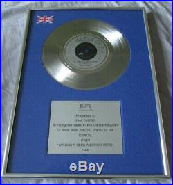 Personal Tina Turner Bpi Gold Silver Platinum Record Award Disc No Riaa Mad Max