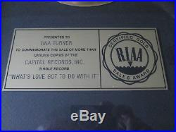 Personal Tina Turner Gold Riaa Record Award Disc What's love got to do with it