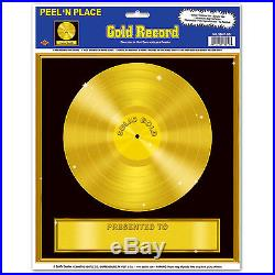 Personalize GOLD RECORD Awards Night Hollywood Solid Gold Music Peel n Stick Cli