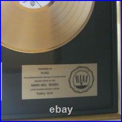 Prince RIAA Gold Record Award Purple Rain Early Riaa