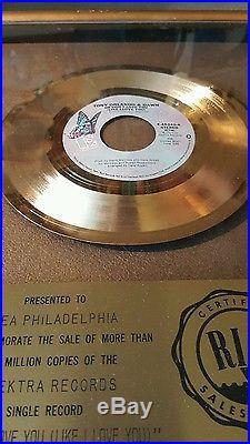 RIAA AWARD Tony Orlando He Dont love you GOLD RECORD 1975 RARE! FLOATER