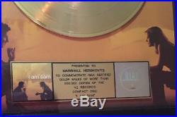 RIAA Certified Gold Record Award I Am Sam Original Soundtrack Framed Sean Penn