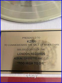 RIAA Gold Record Award Meat Puppets Too High To Die Presented To KZRR 17x21