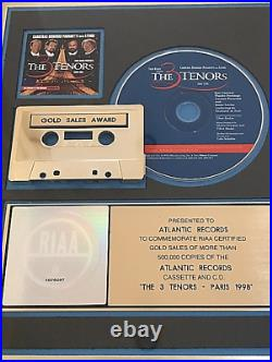 RIAA Gold Record Award-The 3 Tenors 1998-Perfect Condition