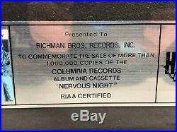 RIAA Hooters Nervous Night GOLD & PLATINUM RECORD AWARD