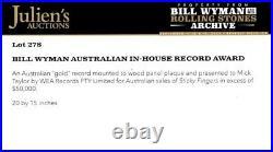 ROLLING STONES Mick Taylors Aust STICKY FINGERS GOLD RECORD AWARD EX-Bill Wyman