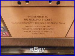ROLLING STONES RIAA GOLD RECORD AWARD SOME GIRLS Pres to STONES withFACS AUTOGRPHS