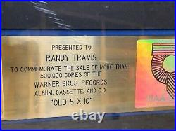 Randy Travis RIAA Gold Record Award 500,000 sales award for Old 8x10 Country