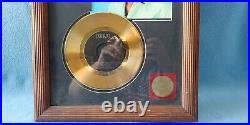 Rare Elvis Presley 24kt Gold Plated 45 Record Framed Million Seller Award 1989