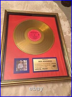 Ricky Van Shelton- Loving Proof Gold Record Award Columbia Records