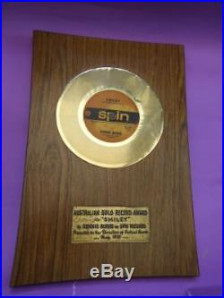 Ronnie Burns Australian Gold Record Award Plaque for SMILEY Spin Records 1970's