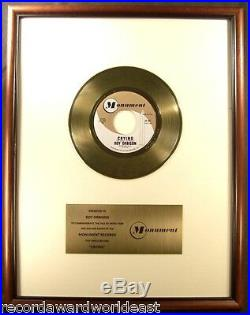 Roy Orbison Crying 45 Gold Non RIAA Record Award Monument Records