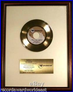 Roy Orbison Only The Lonely 45 Gold Non RIAA Record Award Monument Records