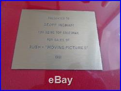 Rush Moving Pictures Mercury Records Uk 1981 In House Gold Disc Award