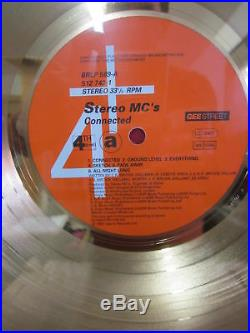 STEREO MC's Gold Record Award Disc CONNECTED Rare Uk Official Presentation 1992