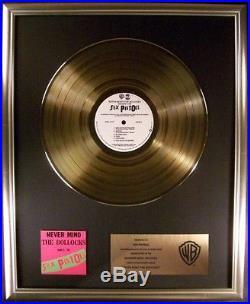 Sex Pistols Never Mind The Bollocks Gold LP Gold Non RIAA Record Award