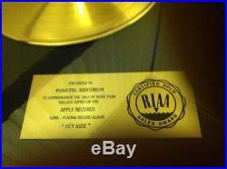 THE BEATLES RIAA Gold Record Framed Sales Award HEY JUDE
