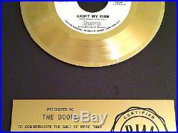 THE DOORS CERTIFIED RIAA SINGLE RECORD AWARD 45 rpm GOLD DISC LIGHT MY FIRE