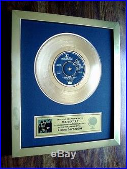 The Beatles A Hard Day's Night 24kt Gold 7 Single Record Disc Award
