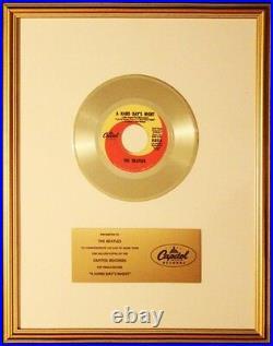 The Beatles A Hard Day's Night 45 Gold Non RIAA Record Award Capitol Records