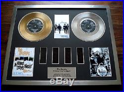 The Beatles A Hard Day's Night Gold Platinum Disc Award Record Film Cell Montage