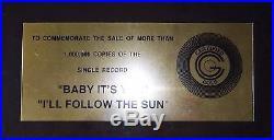 The Beatles BABY ITS YOU 45 Gold Non RIAA Record Award Apple Records 17 FRAME
