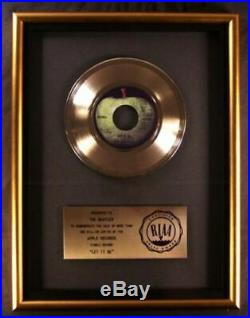 The Beatles Let It Be 45 Gold RIAA Record Award Apple Records To The Beatles