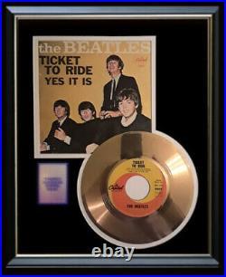 The Beatles Ticket To Ride Gold Metalized Vinyl Record Rare 45 Pm Non Riaa Award