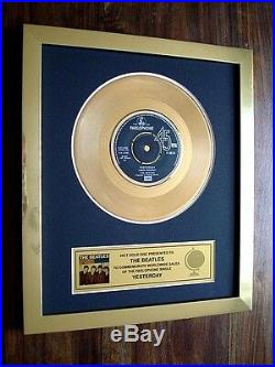 The Beatles Yesterday 24kt Gold Disc 7 Single Record Award