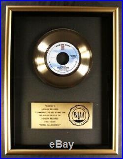 The Eagles Hotel California 45 Gold RIAA Record Award Asylum Records