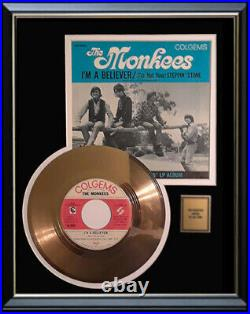 The Monkees I'm A Believer 45 RPM Gold Metalized Record Rare Non Riaa Award