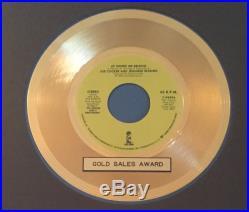 Up Where We Belong Joe Cocker & Jennifer Warnes RIAA Gold Record Sales Award 45