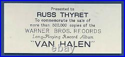 VAN HALEN 1st Album Non-RIAA GOLD RECORD AWARD to Former WB Records Chairman