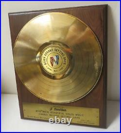 Vintage 1963 BUICK GOLD RECORD SETTING DAYS PROMO AWARD Rare