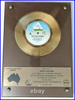 Vintage Australian Gold Record Music Award Ray Parker The Other Woman 1982
