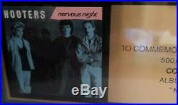 Vintage Columbia Records Hooters Nervous Night Framed Gold Sales Award Framed