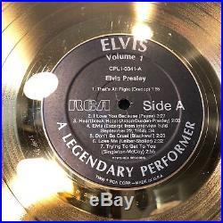 Vtg LARGE Elvis Presley Gold Record Album 45 78 Not RIAA Award Display XMAS Gift