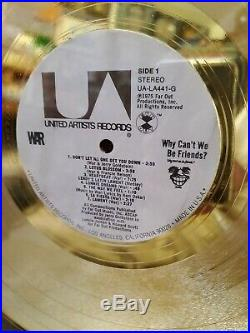WAR Why Cant We Be Friends RIAA GOLD RECORD AWARD RARE FLOATER BEAUTY