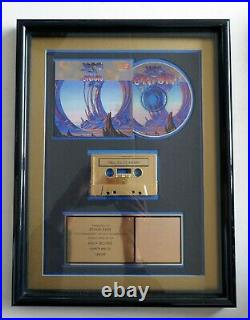 Yes Union 1991 RIAA Gold Award Plaque Arista Records Cassette & CD Vintage Rock